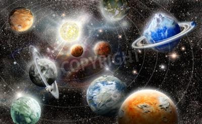 Fotomural Planeta extranjero sistema de estrellas en el espacio