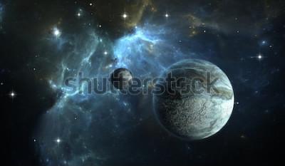 Fotomural Planeta extrasolar. Planeta de piedra con luna en la nebulosa de fondo. Ilustración 3D