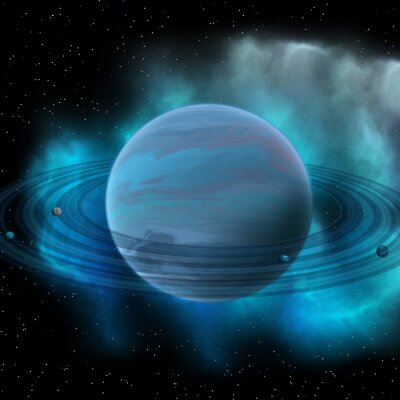 Fotomural Planeta Neptuno - Neptuno es el planeta ocho en nuestro sistema solar y tiene anillos planetarios y un gran punto oscuro que indica una tormenta en su superficie.