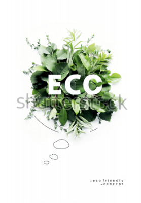 Fotomural Planeta respetuoso con el medio ambiente. Burbuja de habla simbólica, hecha de hierba verde y ramas. Concepto de naturaleza mínima. La naturaleza que habla piensa verde. Concepto de ecología. Lay Flat