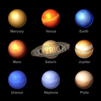 Fotomural Planetas De Color Brillante De Los Iconos De La Sistema Solar. Vector.