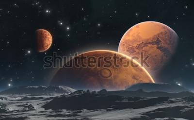 Fotomural Planetas rocosos y luna, fondo del espacio. Ilustración 3d
