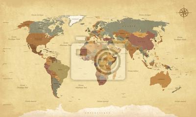 Fotomural Planisphère vendimia Mappemonde - texto en français. vecteur