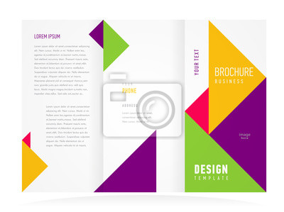 d025719e88 Fotomural Plantilla de diseño de folleto tri-fold vector resumen triángulos