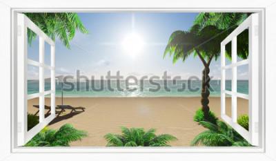 Fotomural Playa tropical vista al mar desde la ventana.