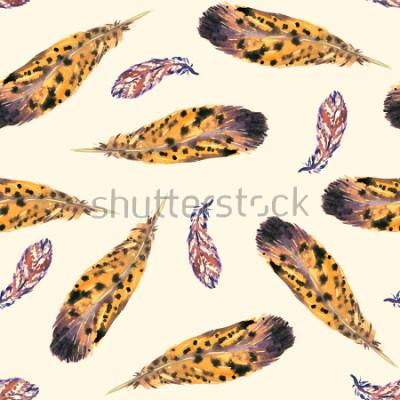 Fotomural Plumas, fondo amarillo suave, diseño de patrones sin fisura, acuarela pintada a mano ilustración