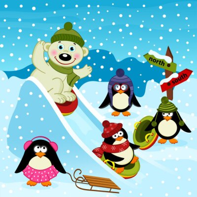 Fotomural Polar, oso, Pingüino, hielo, Diapositiva - vector, Ilustración, EPS