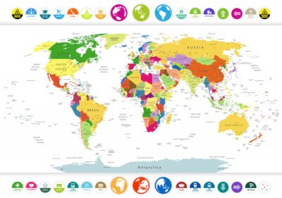 Fotomural Político Mapa del mundo con iconos planos y globos
