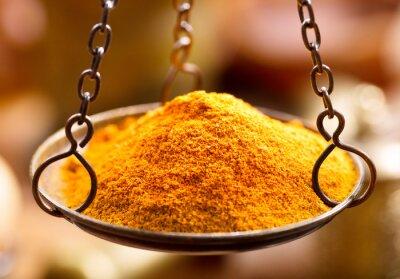 Fotomural Polvo de especias de curry en cuencos
