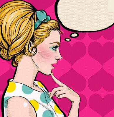 Fotomural Pop Art chica rubia de perfil con la burbuja del discurso.