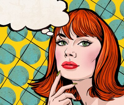Fotomural Pop Art girl with the speech bubble.