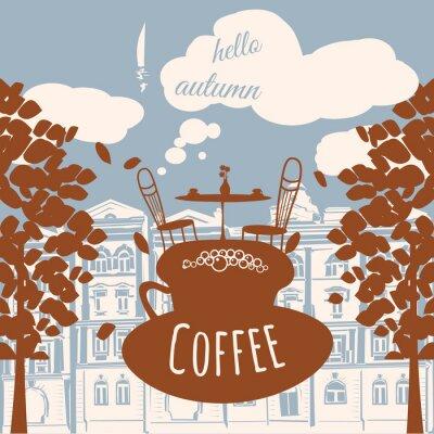 Fotomural Postal hello otoño, café, casa, hojas de otoño, vector, banner, ilustración