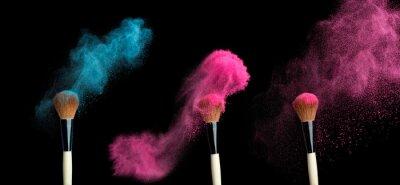 Fotomural Powderbrush sobre fondo negro con salpicadura de polvo azul