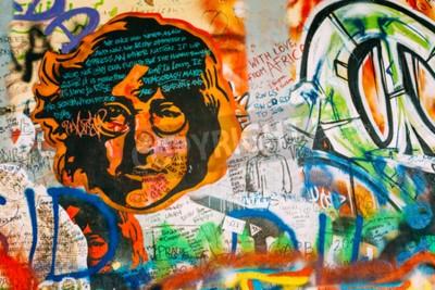Fotomural Praga, República Checa - 10 de octubre de 2014: Lugar famoso en Praga - El muro de John Lennon. Wall está lleno de graffiti inspirado en John Lennon y letras de las canciones de los Beatles