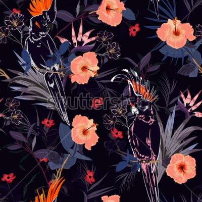 Fotomural Precioso estampado floral tropical. Esquema Pájaro loro en la jungla y flores en el bosque de verano, diseño en toda la prenda, vector de patrones para la moda, wallpaoer y todas las impre