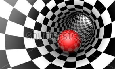Fotomural Predeterminación. Bola roja en un túnel de ajedrez (imagen conceptual). El espacio y el tiempo. Ilustracion 3d Disponible en alta resolución y varios tamaños para adaptarse a las necesidades de su pro