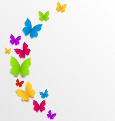 Fotomural Primavera de fondo abstracto con las mariposas del arco iris