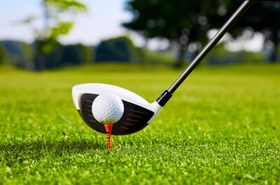 Fotomural Primer de la pelota de golf en el tee de primer golpe