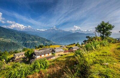 Fotomural Pueblo en las montañas del Himalaya en Nepal