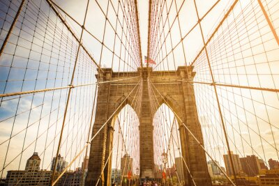 Fotomural Puente de Brooklyn y horizonte de Manhattan