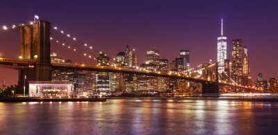 Fotomural Puente de Brooklyn y Manhattan por la noche, la ciudad de Nueva York, EE.UU..