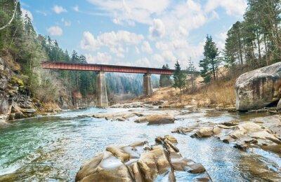 Fotomural Puente sobre el río de montaña