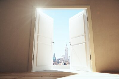 Fotomural Puertas abiertas de la habitación vacía a la ciudad de megapolis con rascacielos