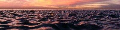 Fotomural Puesta de sol rosa panorama sobre las olas del océano
