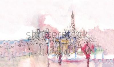 Fotomural Punto de referencia de París con acuarela en un día lluvioso - vista del museo antiguo con la Torre Eiffel detrás. Acuarela chic. Panorama parisino Panorama de la acuarela parisina. Paisaje chic