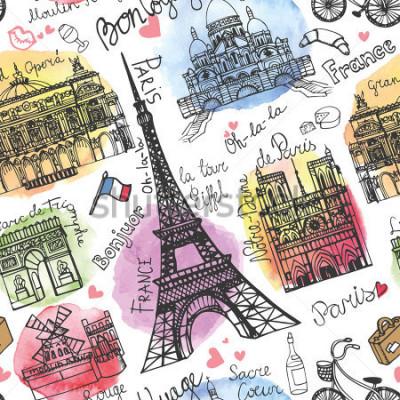 Fotomural Punto de referencia de París, letras de patrones sin dificultades. Acuarela stein.Vintage doodle.En francés buen viaje, hola, Notre Dame, Torre Eiffel, Sacre Coeur, Grand Opera, Arco de Triunfo, Mouli