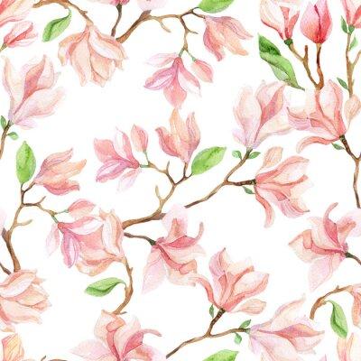 Fotomural Ramas de la magnolia de la acuarela