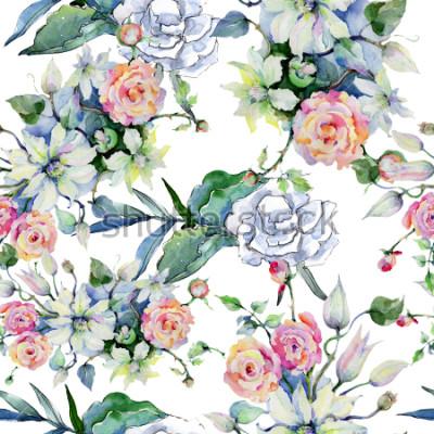 Fotomural Ramo de flores tiernas. Patrón de fondo sin textura Papel tapiz de tela con textura de impresión Acuarela de flores silvestres para fondo, textura, patrón de envoltura, marco o borde.