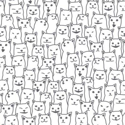 Fotomural Raza de gato gatito Vector patrón de fondo transparente Fondo de papel tapiz blanco