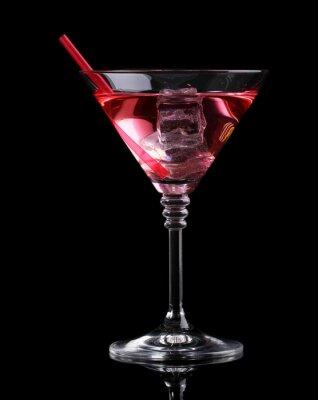 Fotomural Red cóctel en vaso de martini aislados en negro