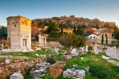 Fotomural Restos del Ágora Romano y la Acrópolis en Atenas, Grecia.
