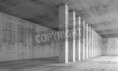 Fotomural Resumen de antecedentes de la arquitectura, interior vacío con muros de hormigón y columnas en una fila, ilustración 3d con efecto de perspectiva