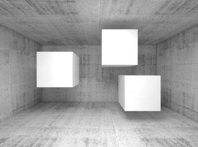 Fotomural Resumen de hormigón interior, volando cubos 3 d