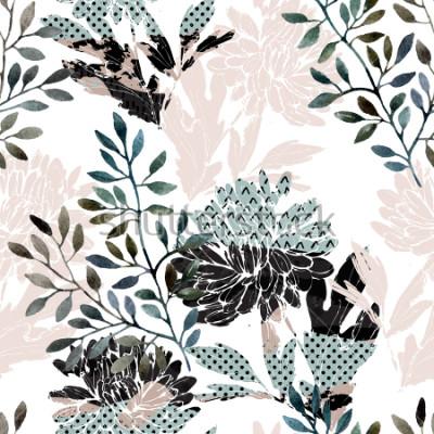 Fotomural Resumen de patrones sin problemas florales. Flores de acuarela, hojas llenas de texturas minimalistas de doodle. Fondo natural Pintado a mano ilustración de otoño para tela, textil, diseño de embalaje