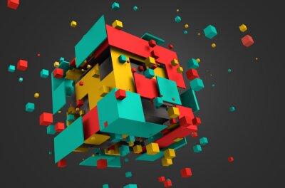 Fotomural Resumen de representación 3D de cubos de vuelo.