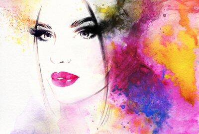 Fotomural Retrato de mujer hermosa. Ilustración abstracta de la acuarela de la manera