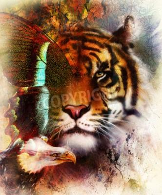 Fotomural Retrato de tigre con águila y alas de mariposa .. Resumen de antecedentes de color y adornos, estructura de época. Concepto de animales