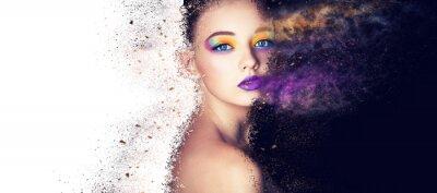 Fotomural retrato modelo de moda mujer maquillaje creativo, estudio fotográfico