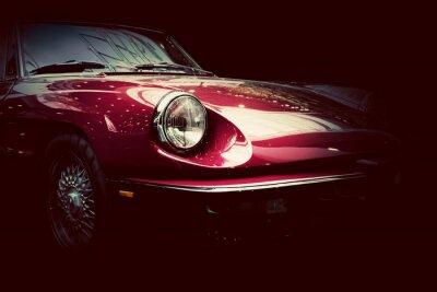 Fotomural Retro classic car on dark background. Vintage, elegant