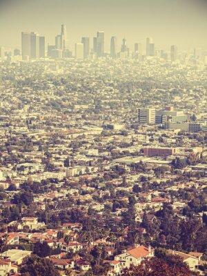 Fotomural Retro estilizada vista aérea de Los Angeles visto a través de smog, EE.UU.