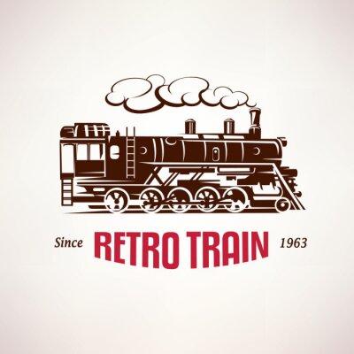 Fotomural Retro, tren, vendimia, vector, símbolo, emblema, etiqueta, plantilla