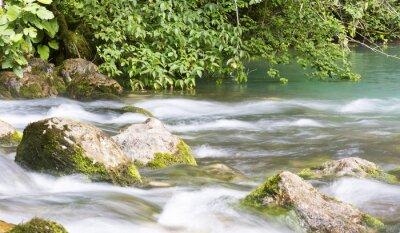 Fotomural Río de montaña en Abjasia, paisaje. Limpiar el río fluye en las montañas de Abjasia.