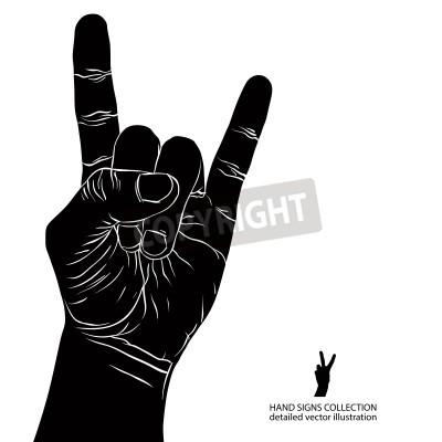 Fotomural Roca en muestra de la mano, el rock and roll, hard rock, heavy metal, música, detallada ilustración vectorial blanco y negro.