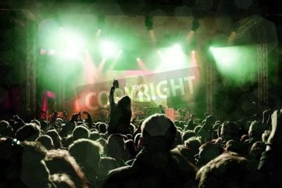 Fotomural Rock concierto, siluetas de gente feliz levantando las manos