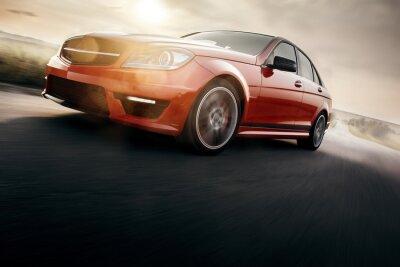 Fotomural Rojo coche deportivo rápido velocidad en la carretera asfaltada