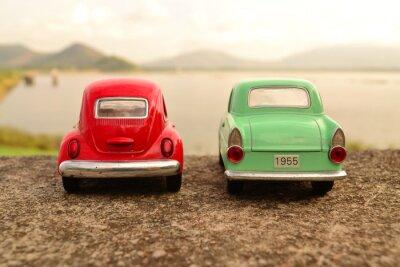 Fotomural Rojo, verde, juguete, coche, parque, pareja, camino